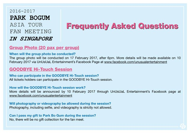 Park Bogum Asia Tour Fan Meeting in Singapore FAQ2