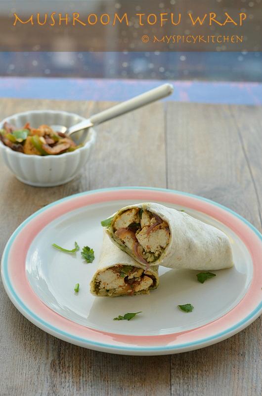 Blogging Marathon, Vegetable Wrap, Tofu Wrap, Mushroom Wrap