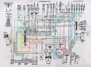 1979 BMW R807 TIC Wiring Diagram | A coloured in version
