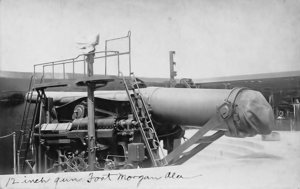 12 inch guns at fort morgan al 1910 real photo postcard ta