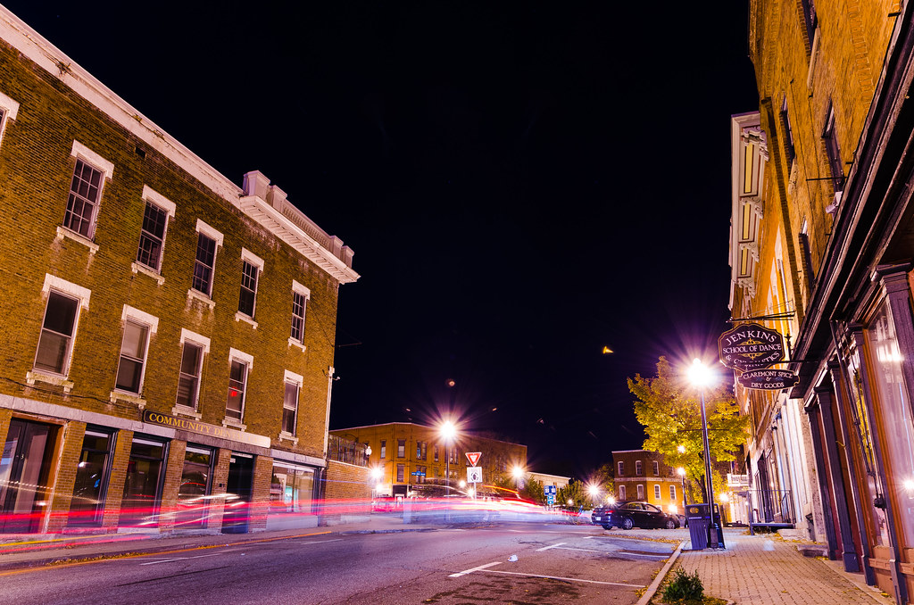 Downtown Claremont NH  I tried to get some light trails