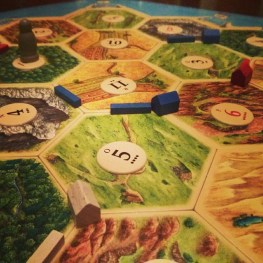 Image of part of a board of Settlers of Catan.