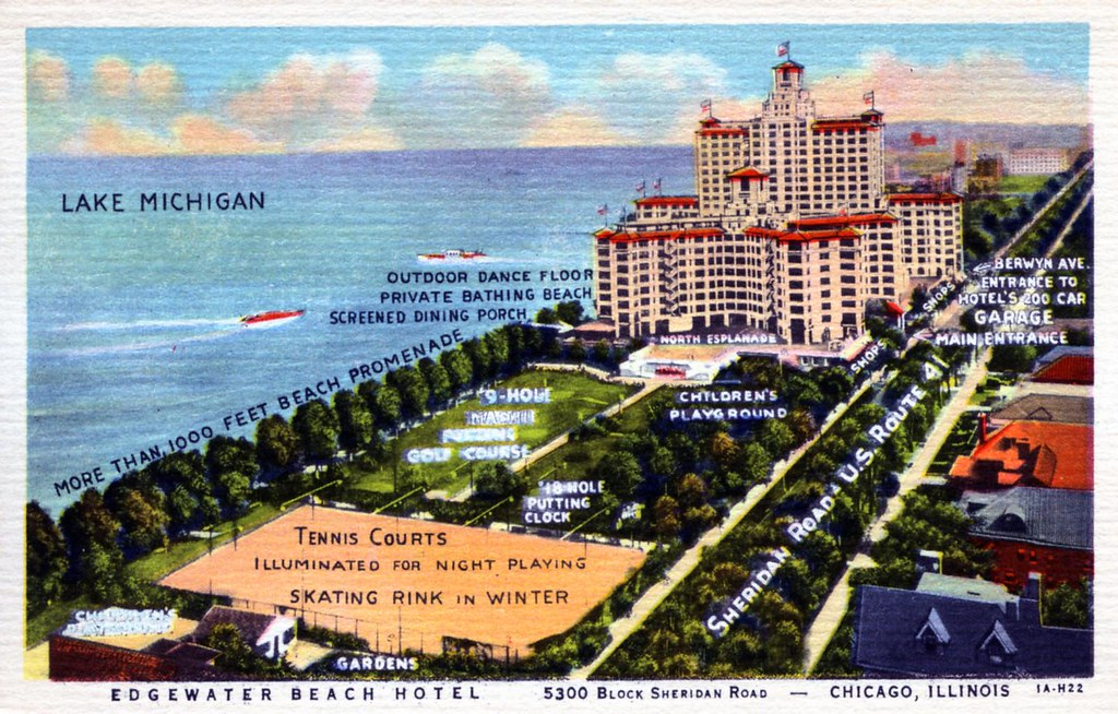 Edgewater Beach Hotel Chicago IL  Lake Michigan at 5349