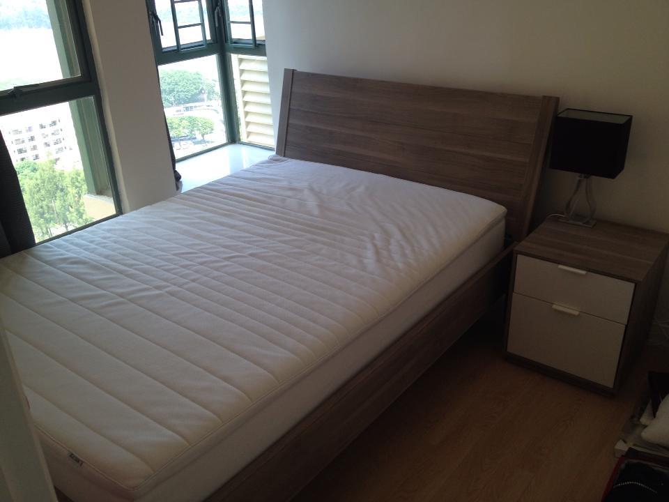 IKEA Nyvoll Double Bed Frame light grey Includes slated