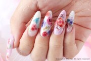 elegant rose pink & blue nail