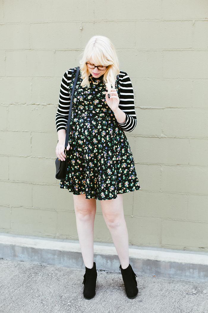 writes like a girl floral dress striped shirt5