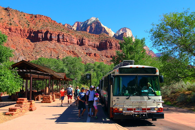 IMG_5096 Shuttle Bus at Visitor Center, Zion National Park