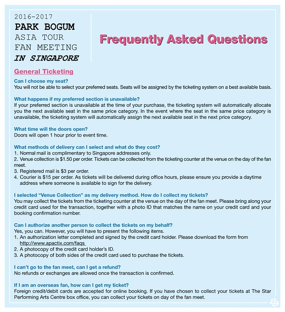 Park Bogum Asia Tour Fan Meeting in Singapore FAQ3