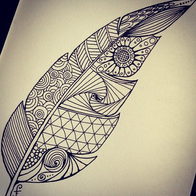 Zentangle Feather Drawn A Couple Of Days Ago Over Breakf