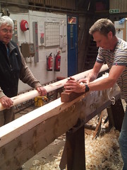 planing wooden ladder poles