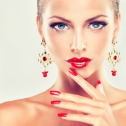 girl with red nails and fashion