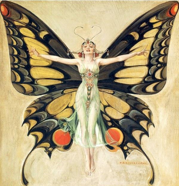 Butterfly Woman by Frank X Leyendecker the Flapper