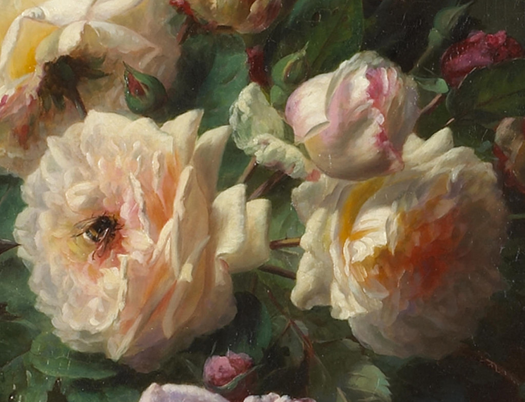 JeanBaptiste Robie A still life with roses a titmouse a
