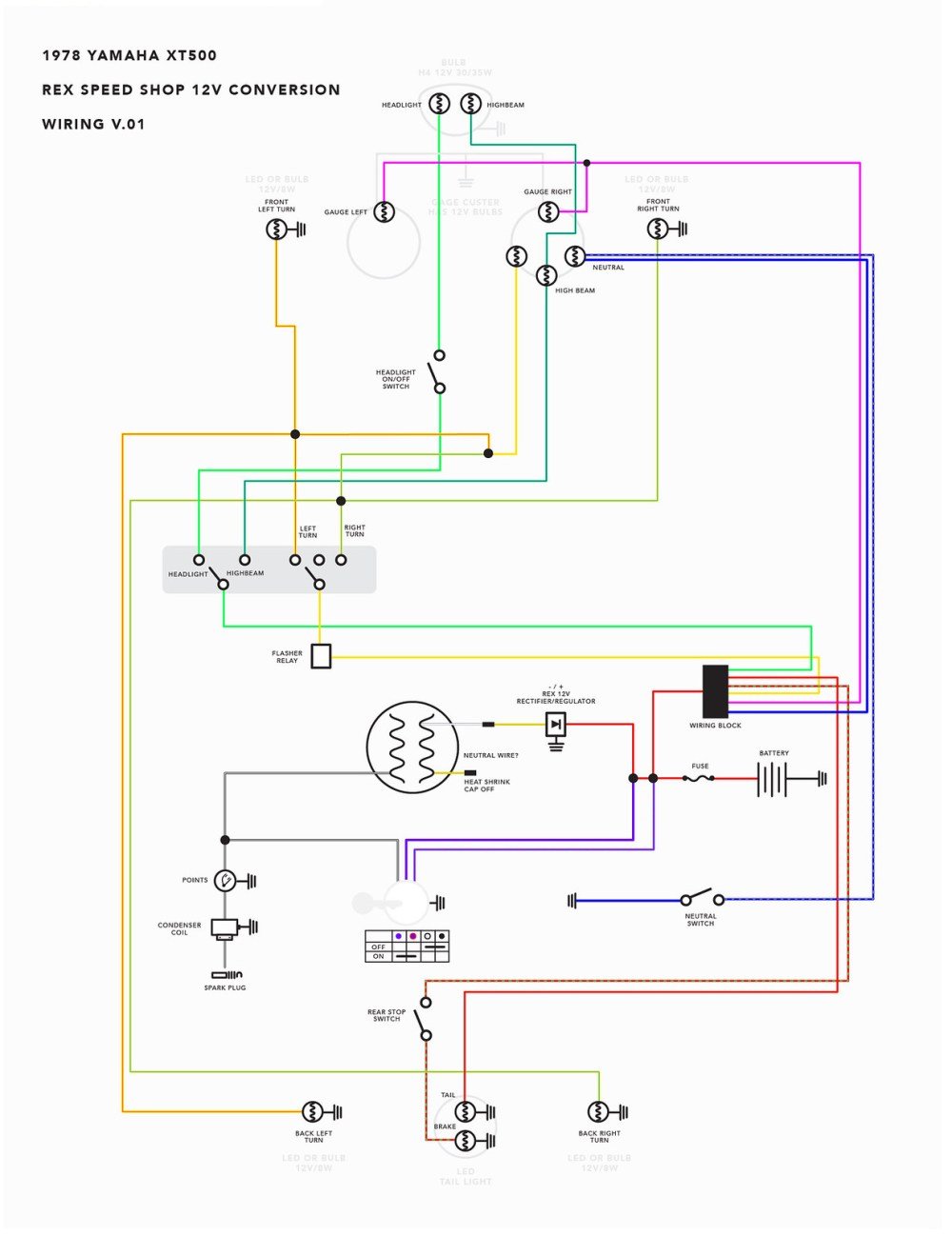 medium resolution of wiring diagram 1976 yamaha xt500 yamaha sr500 wiring