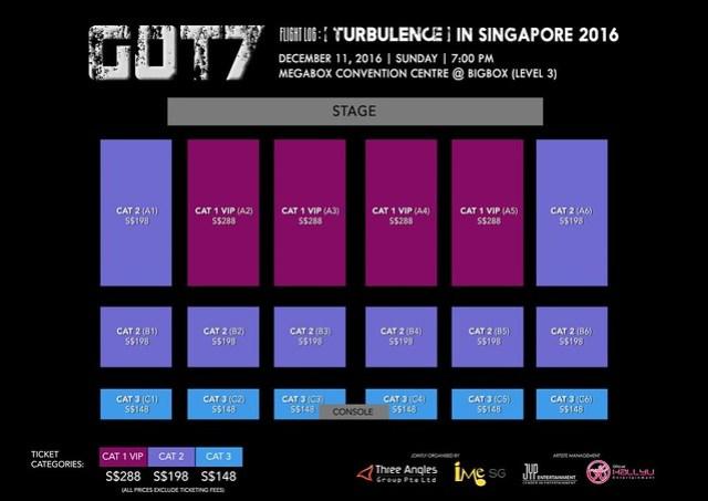 """GOT7 """"Flight Log TURBULENCE"""" In Singapore 2016 Seating Plan"""
