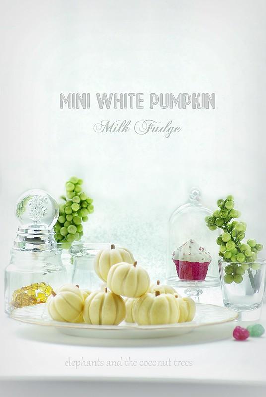 Mini White Pumpkin shape Milk Fudge with Dry fruit Filling