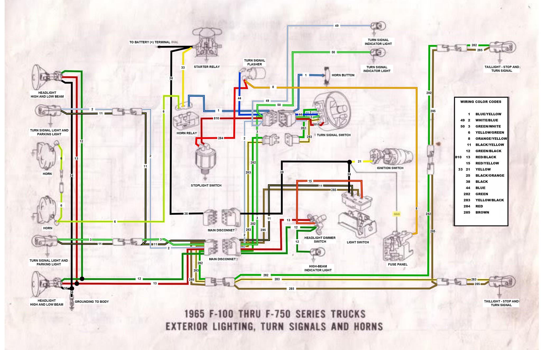 65 F100 Thru F750 Exterior Wiring Diagram