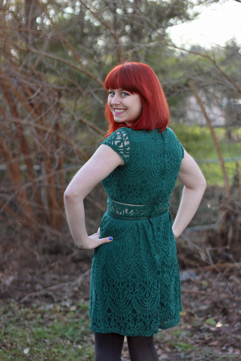 Christmas Outfit Green Lace Dress With Gray Leopard Print