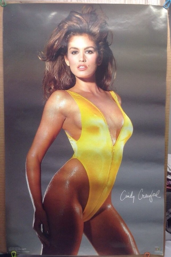 Cindy Crawford. Do you notice a trend in hip-high, low-cut one-piece swimsuits? Credit: pinterest.com