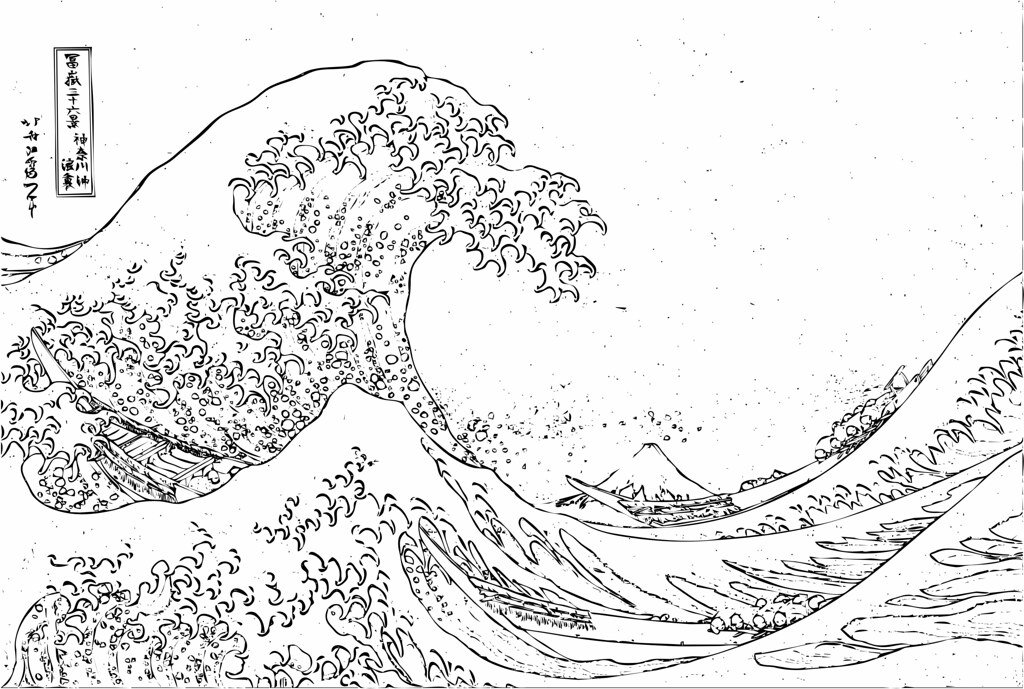 Hokusai Waves Coloring Pages Original Images From