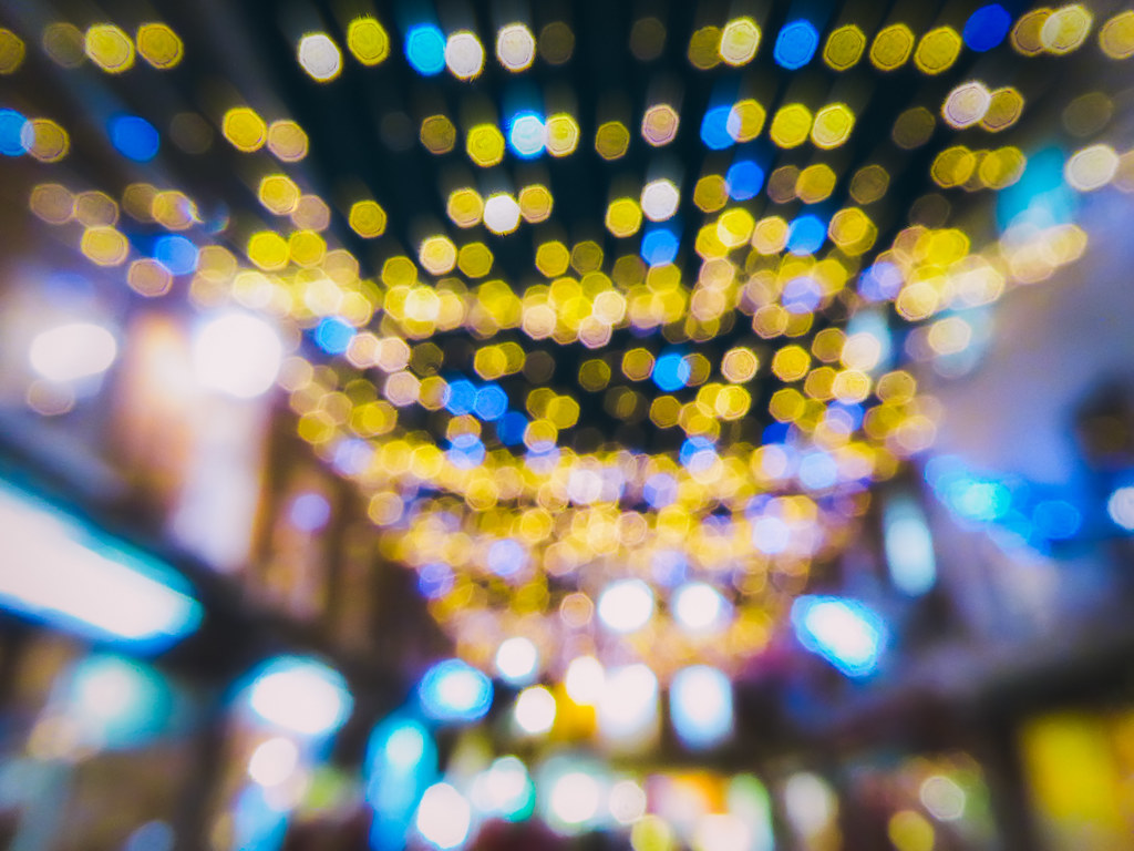 Bokeh of colors as you look by  This was a busy street
