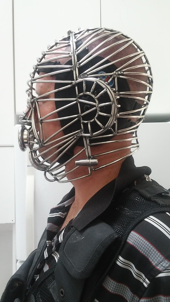 wire helmet 4  left side of the head cage at SBI