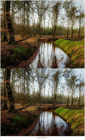 Boven is zonder polarisatie, onder is met (maximale) polarisatie.  De onderste foto is beter omdat er maar in een deel van het water de reflectie is verdwenen. Het levert een donkere rand op die een soort natuurlijke rand oplevert. De foto zonder die rand is aan de onderzijde te open. De reden dat maar een deel gepolariseerd is ligt aan de hoek van de reflectie.