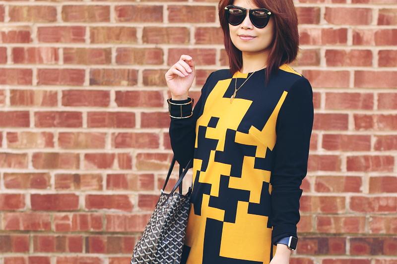 black-yellow-dress-goyard-st-louis-tote-6