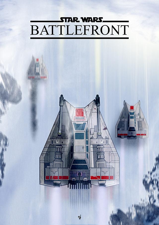 Star Wars Battlefront Snowspeeder poster design