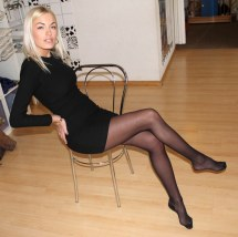 Blonde Barefoot And With Black Dress Charly . Karl