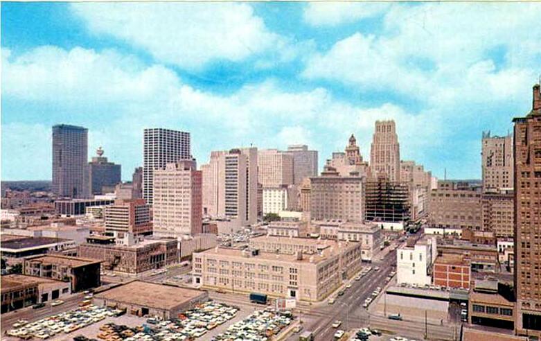 Houston Texas downtown skyline (abt 1963)