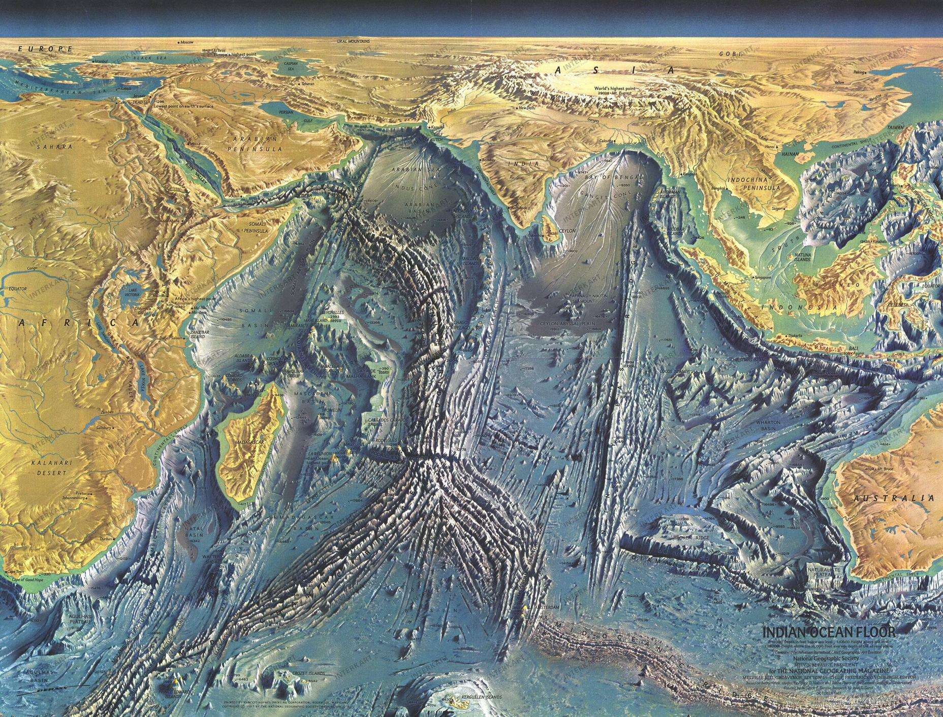 A Detailed Map Of The World Ocean Floor