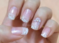 Winter white tips with bows and hearts | My own nails Base ...