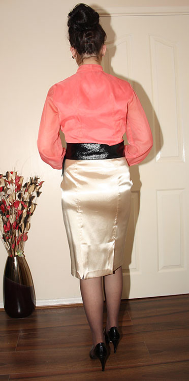 tight gold satin wiggle skirt  for sale  sheerglamour