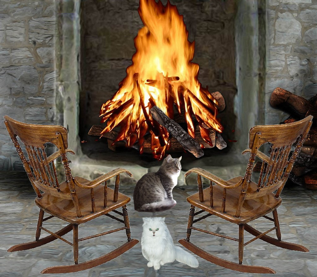 back of sofa facing fireplace low price two kitties rocking chairs and a fire
