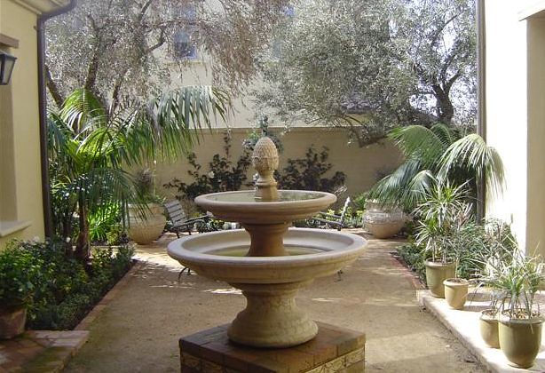 Water Fountain and Courtyard by Robert E Taft Landscape A