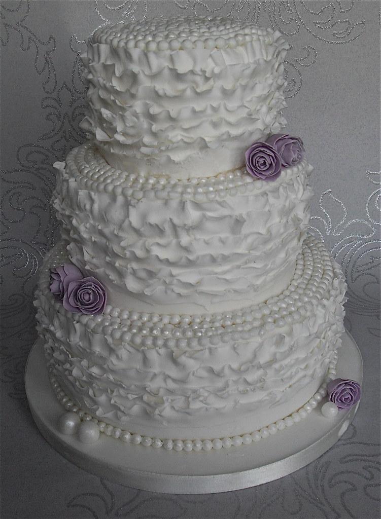 Vintage Pearls Ruffle Wedding Cake Charlottescupcakes