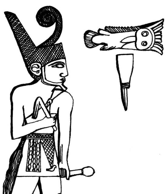 Detalle del rey Narmer tocado con la corona roja del Bajo