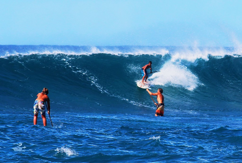 Wipeout Hd Wallpaper Stand Up Paddle Surfing On The Huge Waves Off Sunset Beach