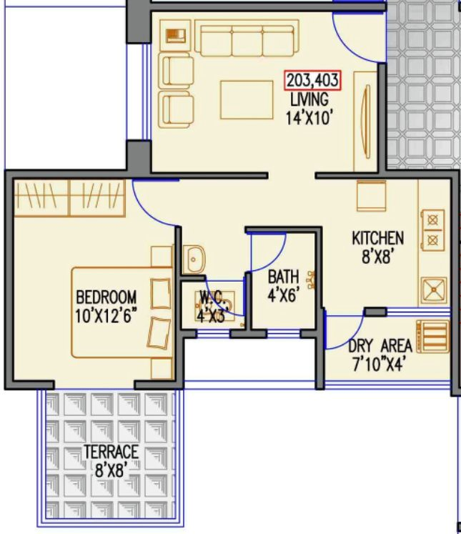 433 Sqft Carpet + Terrace  1 Bhk Flat For Rs Lakhs At