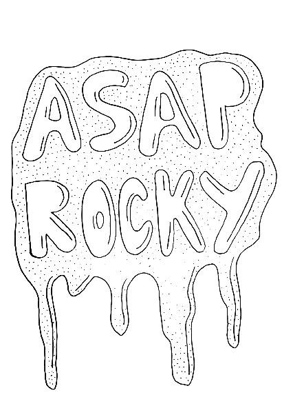 Cartoon Asap Rocky Stencil Sketch Coloring Page