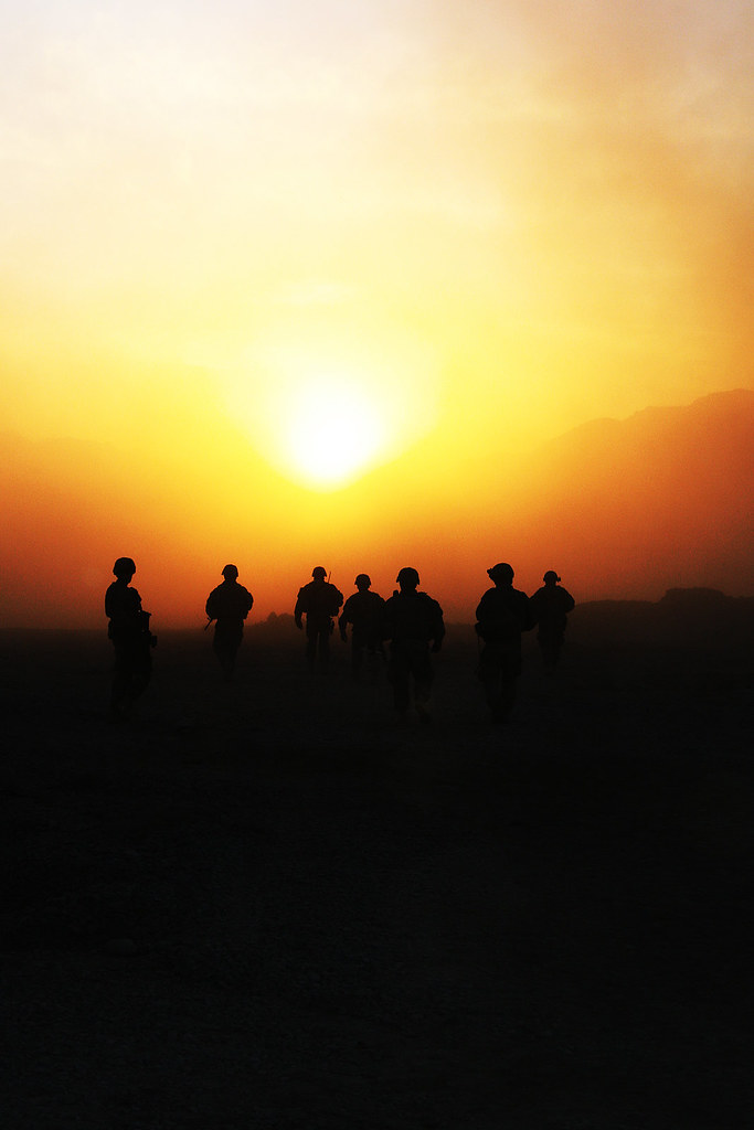 Sunset Over Kandahar Soldiers With 2nd Brigade Combat