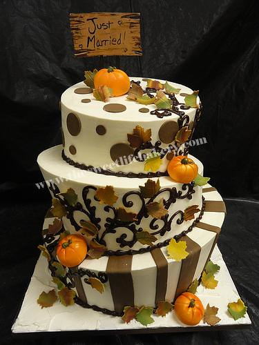 Fall Theme Just Married Topsy Turvy Wedding Cake Flickr