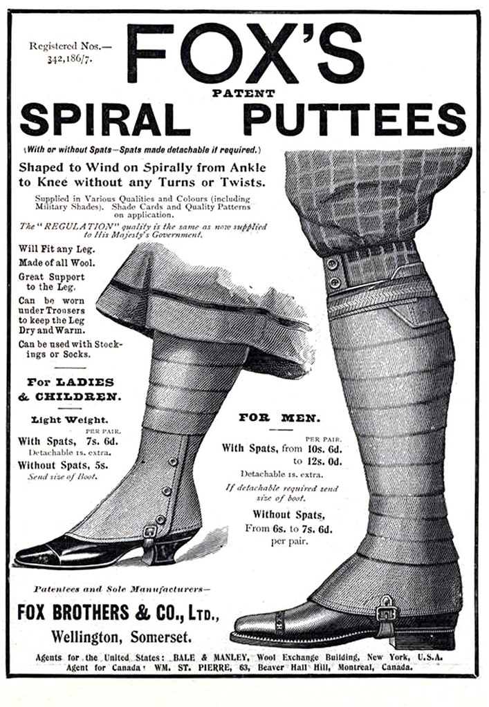1904  Foxs Spiral Puttees  Apparently this is going to