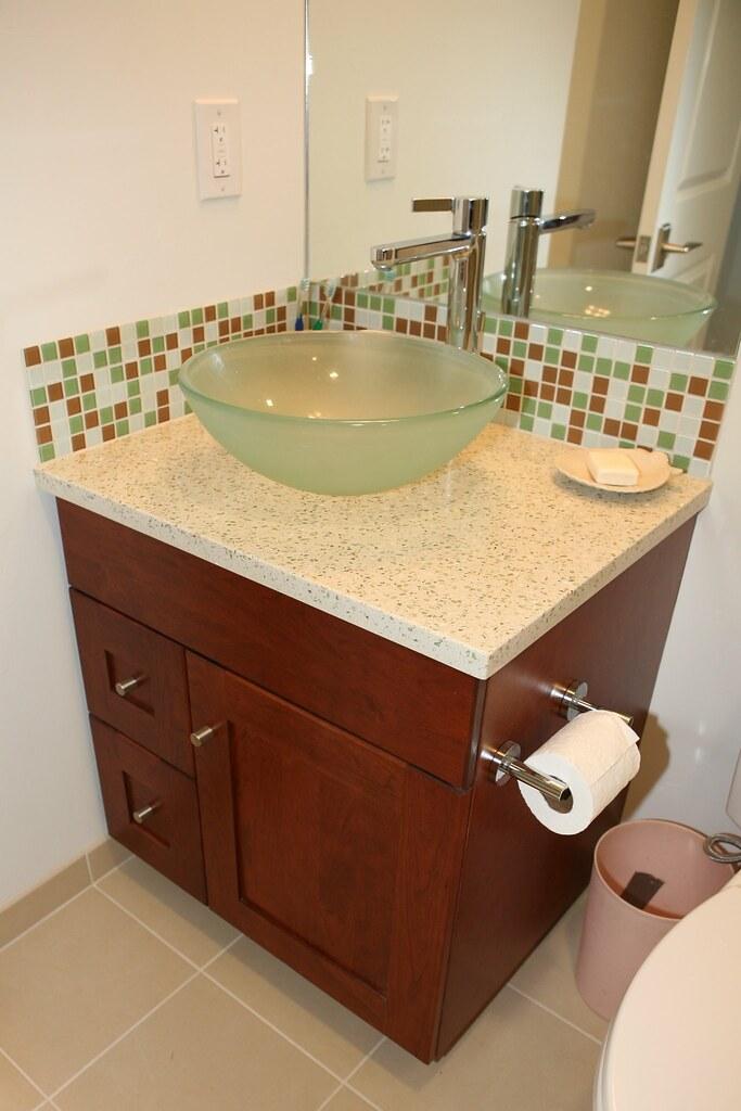 Guest Bathroom Sink Amp Cabinet Glass Vessel Sink Glass