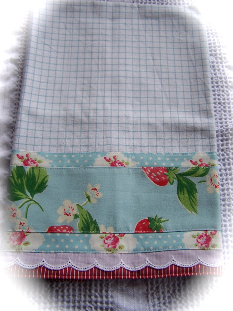 Cath Kidston strawberry fabric decorated tea towel  Flickr