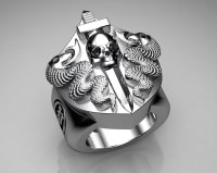 Unique Mens Ring Snake and Skull Shield Ring Sterling Silv ...
