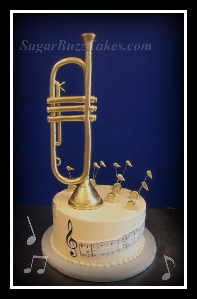 Trumpet Grooms cake  Hand sculpted trumpet painted with gol  Flickr