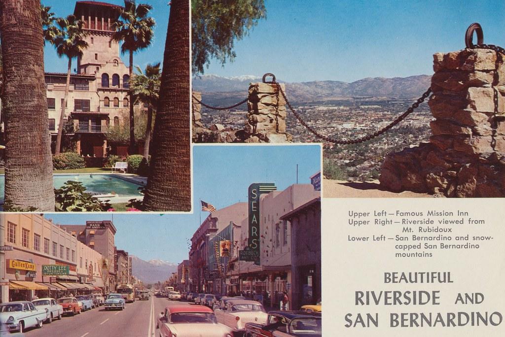 Riverside and San Bernardino, California USA - Page 7 from 'Southern California - A Souvenir Guide' - 1956