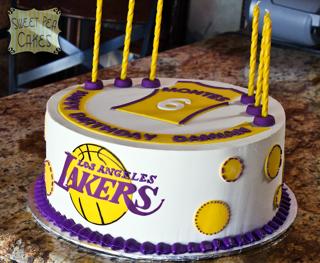 Lakers 6th Birthday 12 Inch Round Buttercream Lakers Cake Flickr